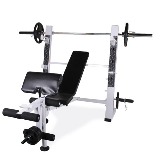 Olympic Weight Lifting Bench Leg Extension Preacher Curl Arm Biceps Squat Rack Ebay