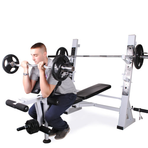 Olympic Weight Bench With Squat Rack: OLYMPIC WEIGHT LIFTING BENCH LEG EXTENSION PREACHER CURL