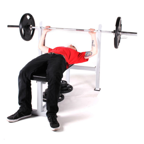 commercial duty olympic flat barbell weight lifting chest